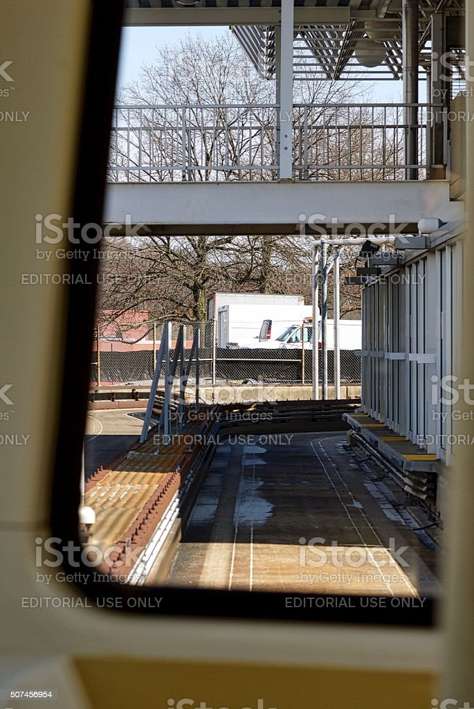 West Virginia University PRT Car Arriving at Station stock photo