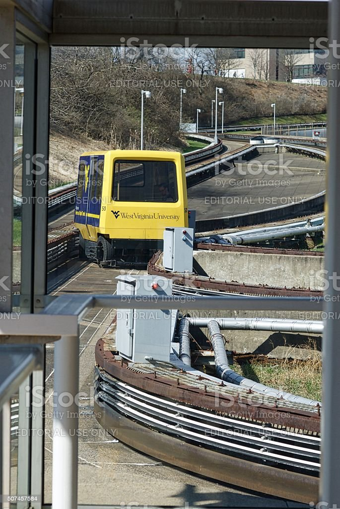 West Virginia University PRT Car Arriving at 'Towers' PRT Station stock photo