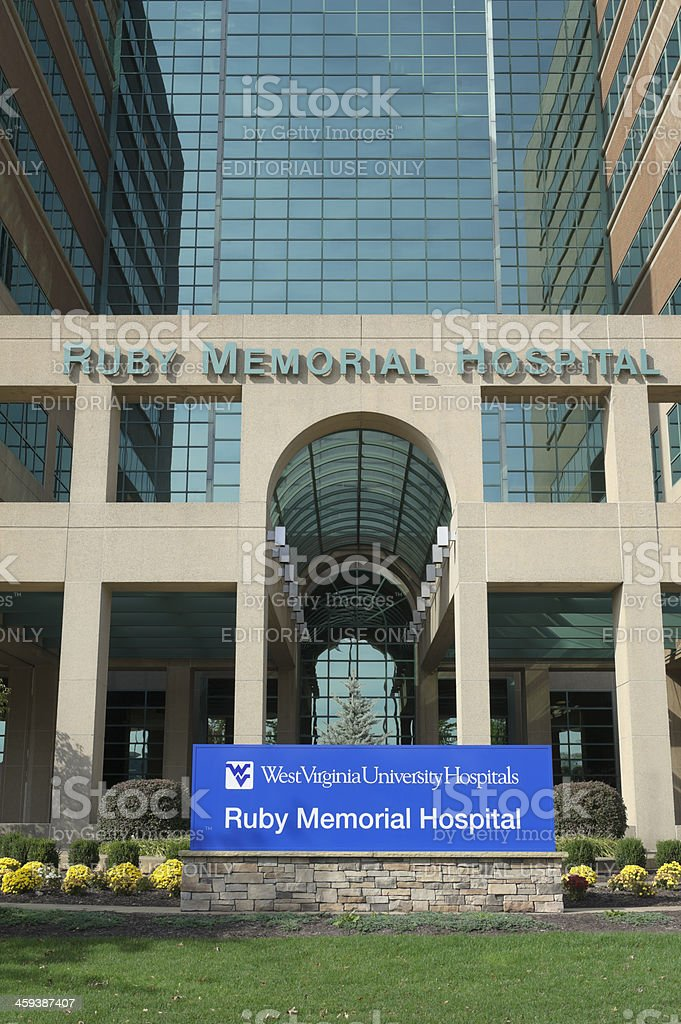 West Virginia University, Ruby Memorial Hospital Entrance stock photo