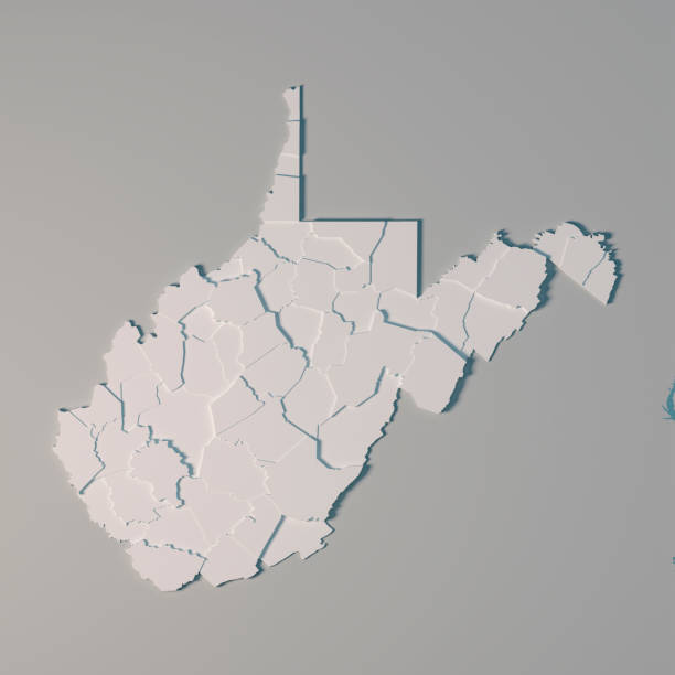 West Virginia US State Map Administrative Divisions Counties 3D Render 3D Render of an US State map of West Virginia with the Administrative Divisions, Counties. All source data is in the public domain. USGS The National Map: https://viewer.nationalmap.gov/basic/ west virginia us state stock pictures, royalty-free photos & images