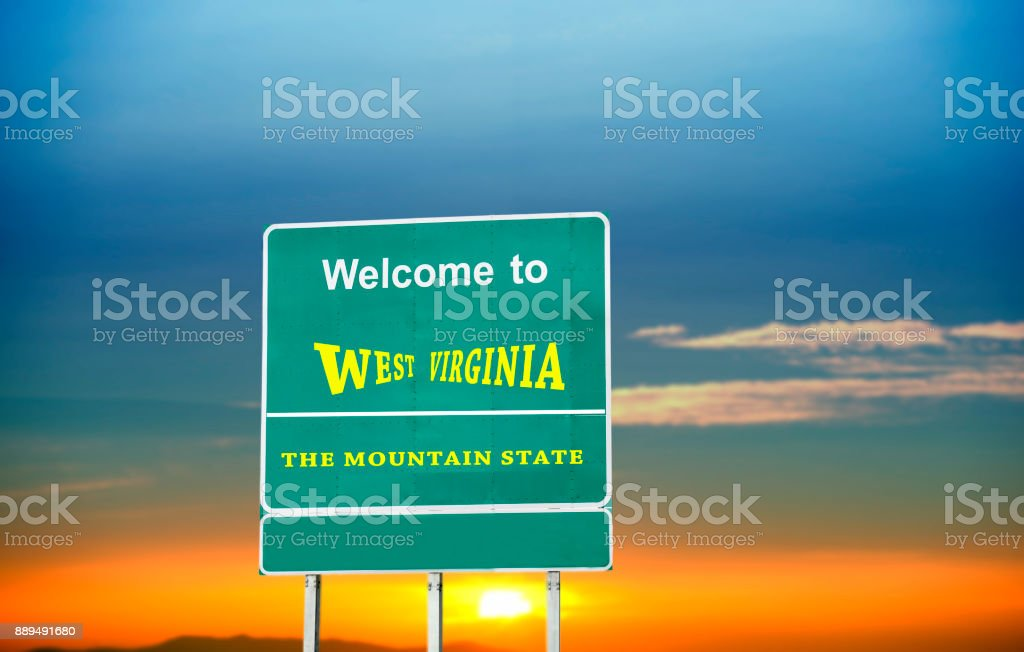 West Virginia, Welcome road sign stock photo