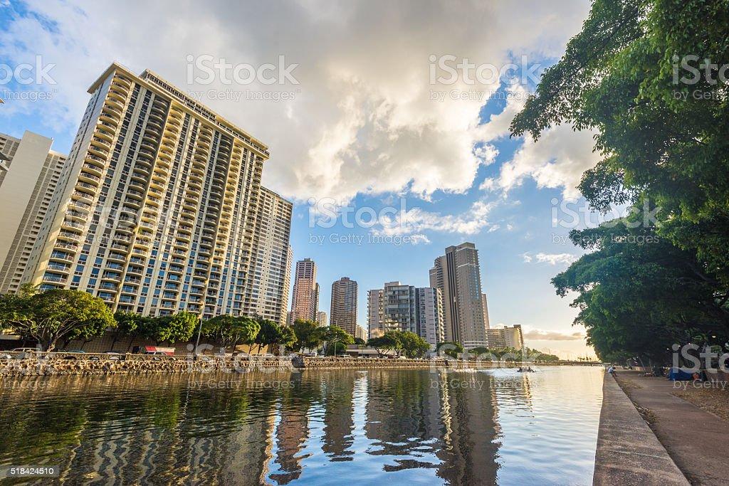 West Waikiki skyline along the Ala Wai Canal stock photo