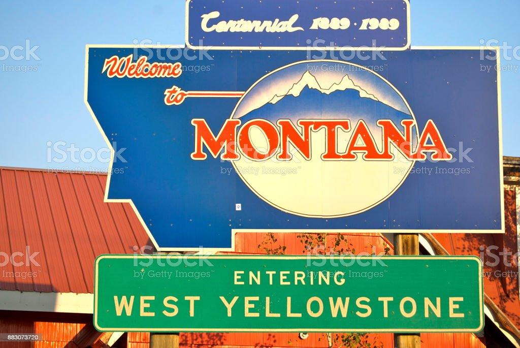 West Yellowstone Montana sign stock photo