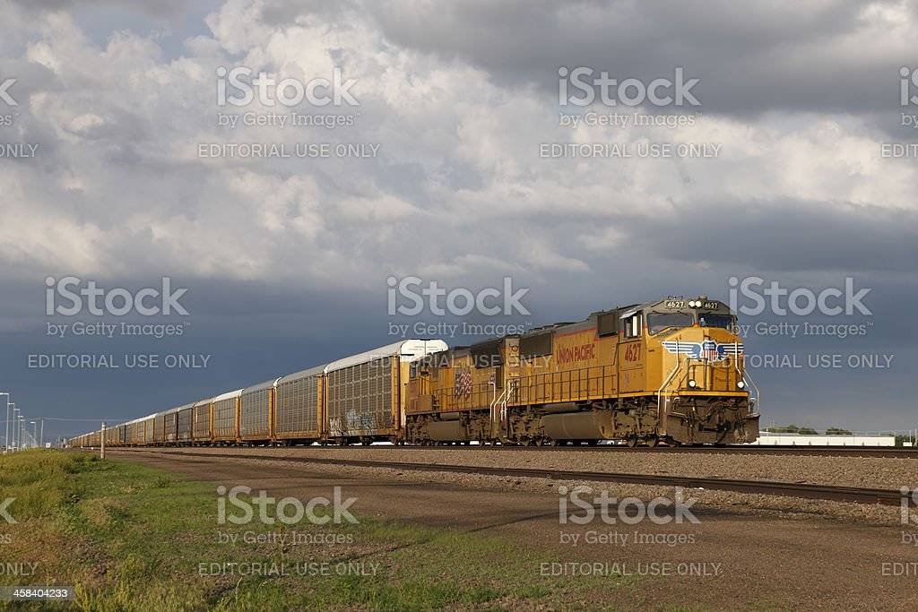 Westbound UP Autoracks stock photo