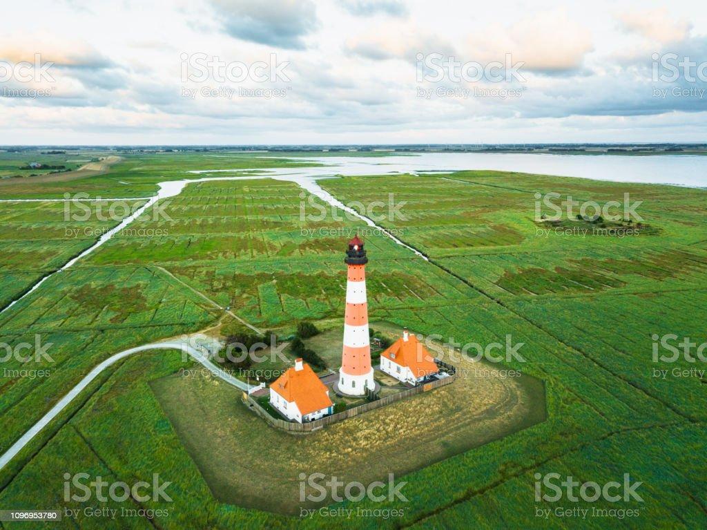 Westerheversand Lighthouse Nordfriesland Germany stock photo