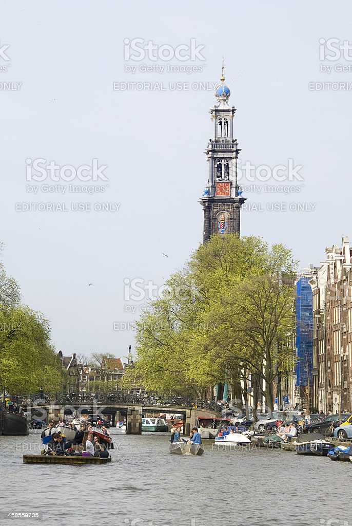Westerkerk and Canal stock photo