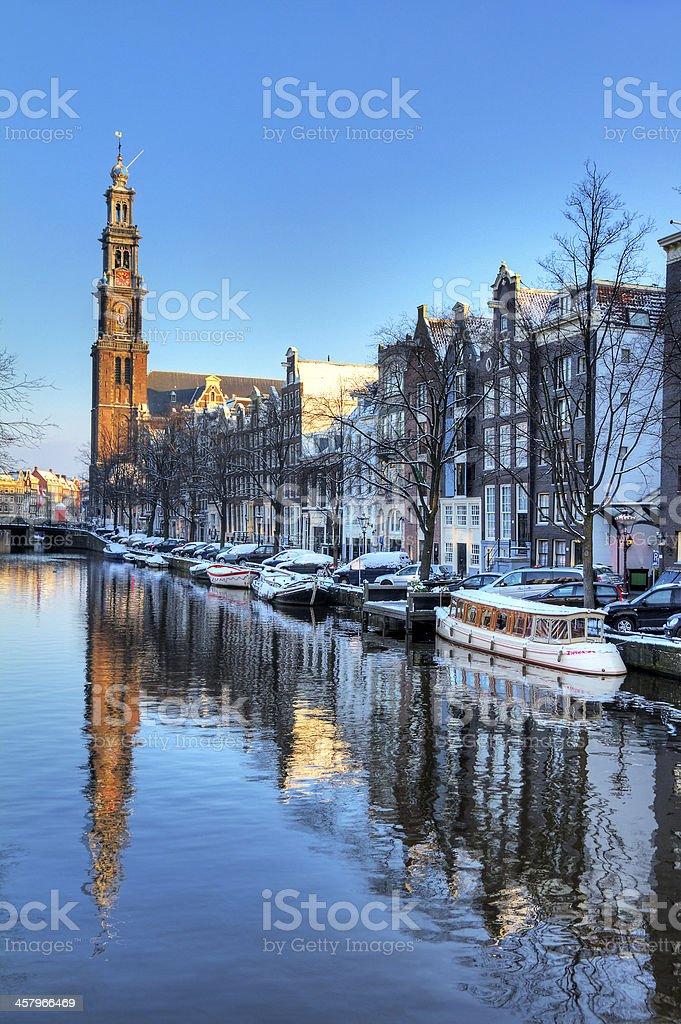 Westerkerk canal winter stock photo