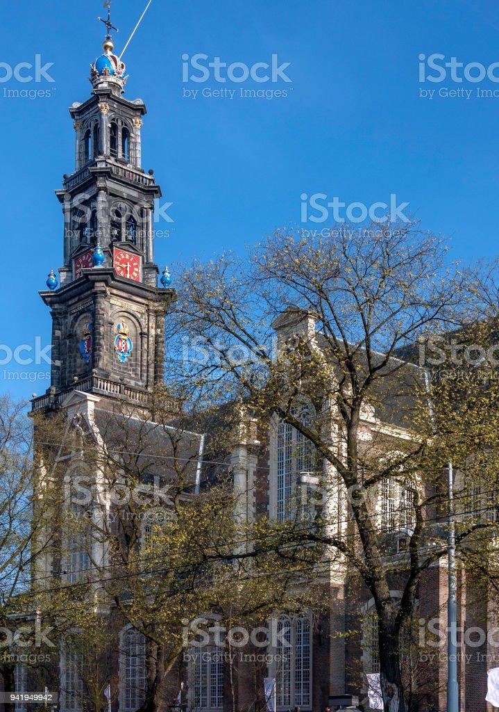 Westerkerk (Western) Church & Steeple stock photo