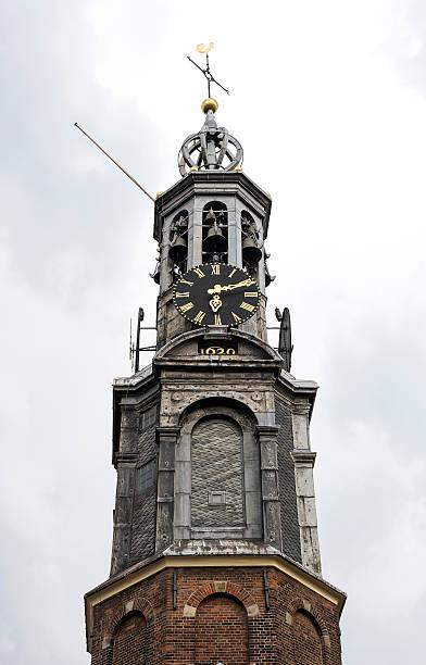 westerkerk or western church tower in amsterdam - westerkerk stockfoto's en -beelden