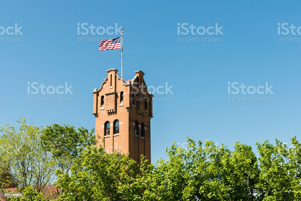 Western American Missoula Montana Architecture Background in Spring USA stock photo