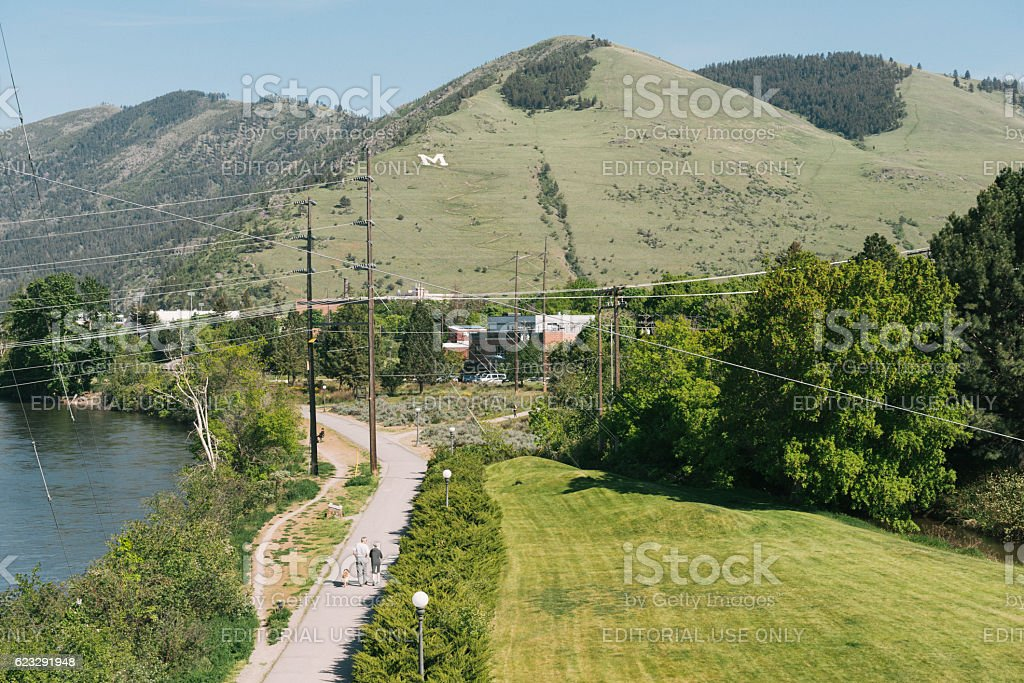 Western American Missoula Montana Scenic Mountain View in Spring USA stock photo