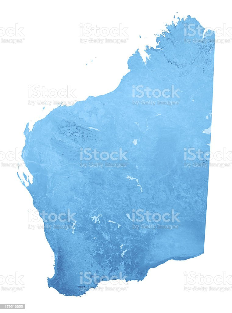 Western Australia Topographic Map Isolated stock photo