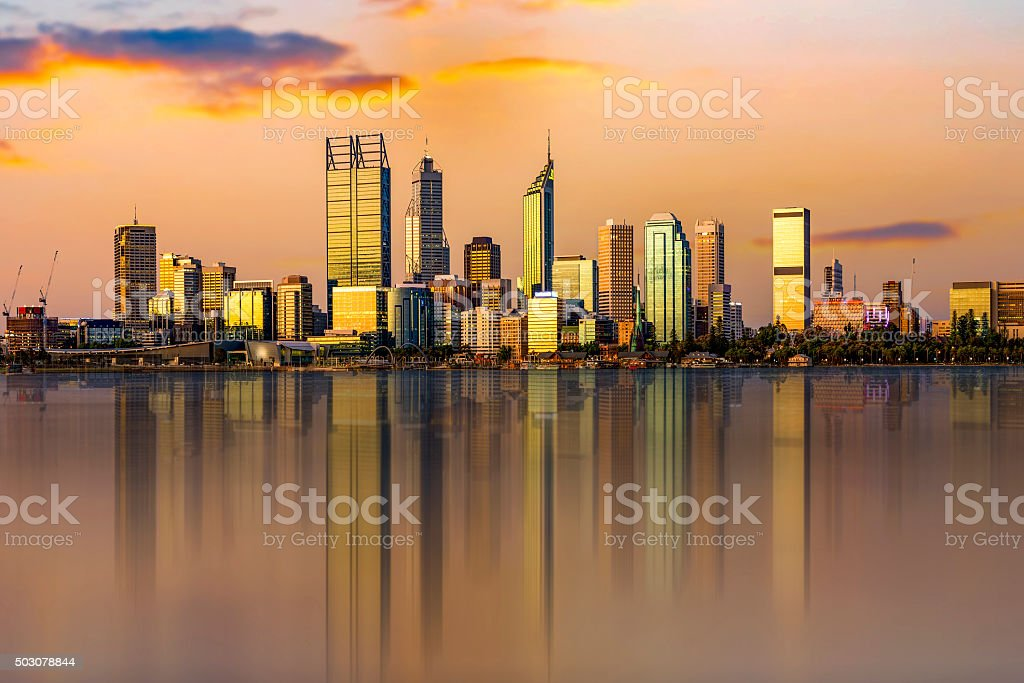 Western Australia, viewed at night reflected in the Swan River. stock photo