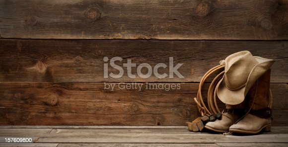 Cowboy hat,boots,lasso,spurs and riding gloves on the right side of a plain,weathered,rustic barnwood background.  room for title and/or text. Extra wide and large file size for a banner format.http://www.garyalvis.com/images/wildWest.jpg
