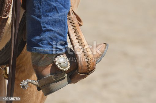 Western boot and spur in the stirrup of a saddle on a Palomino horse. Spur has a longhorn cattle design on it. Copy space on the right.