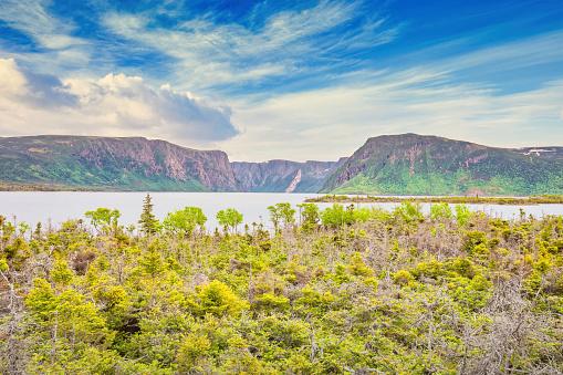 Western Brook Pond in Gros Morne National Park Newfoundland Canada on a summer day.