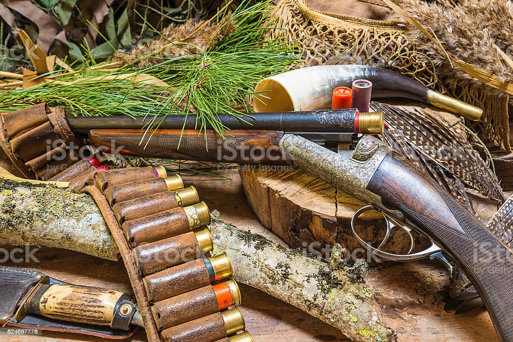 Western composition with hunting gun stock photo