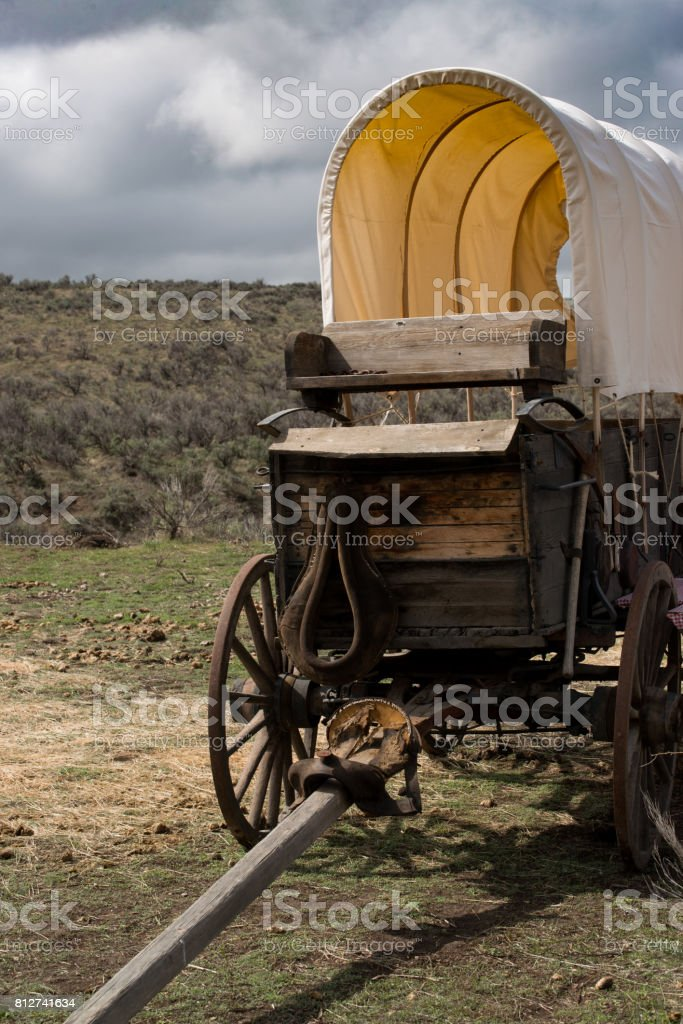 Western covered chuckwagon for cooking food on the trail stock photo