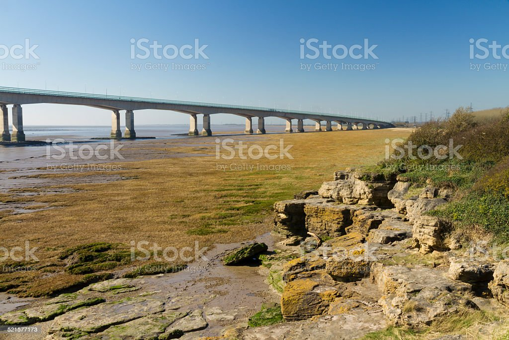 Western end of the Second Severn Crossing, suspension bridge stock photo