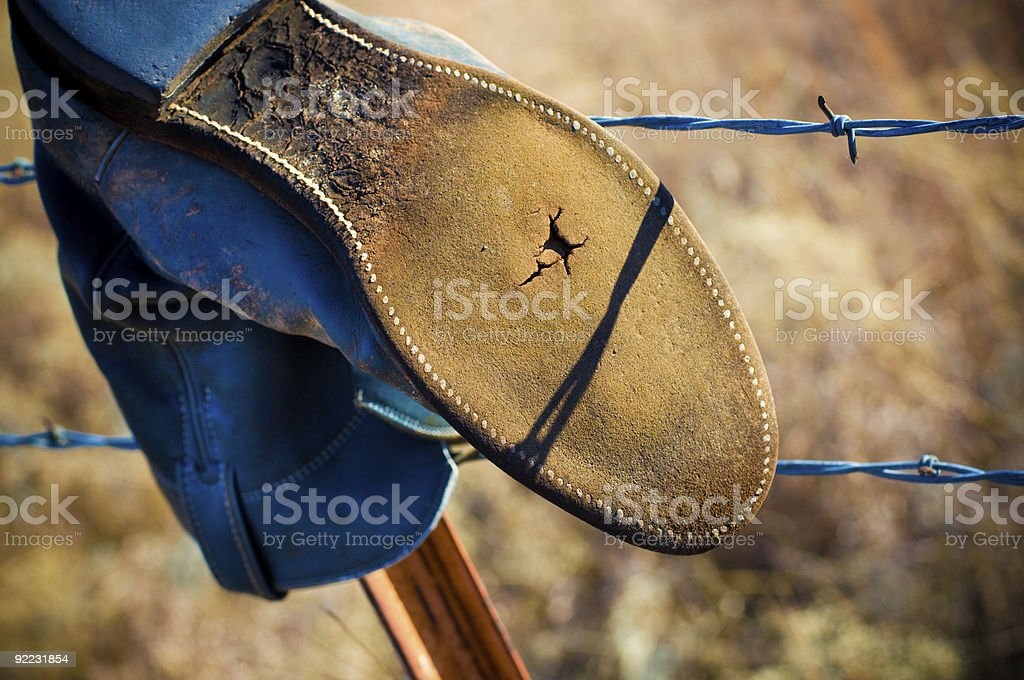 Western Fence Post Decorations royalty-free stock photo
