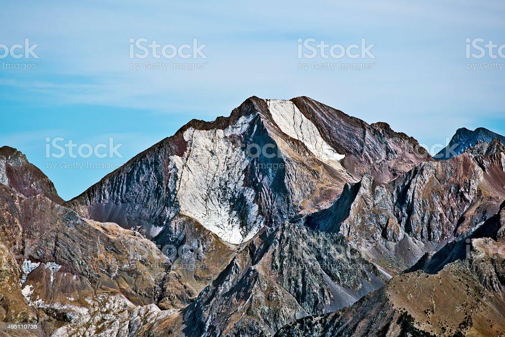 Western flank of Peak Enfer 3082 m in Spanish Pyrenees stock photo