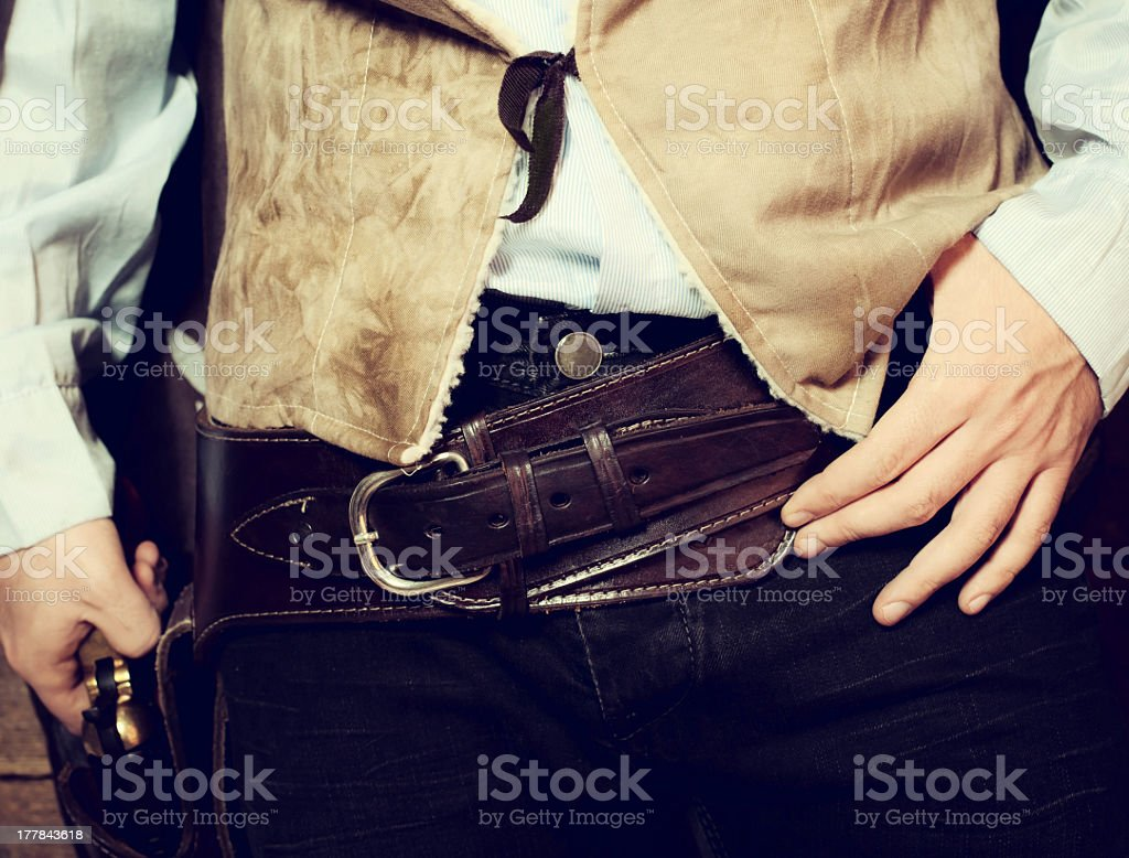 Western gun belt with Colt royalty-free stock photo
