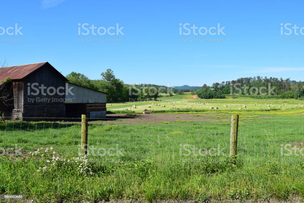 Western NC barn overlooking pasture royalty-free stock photo