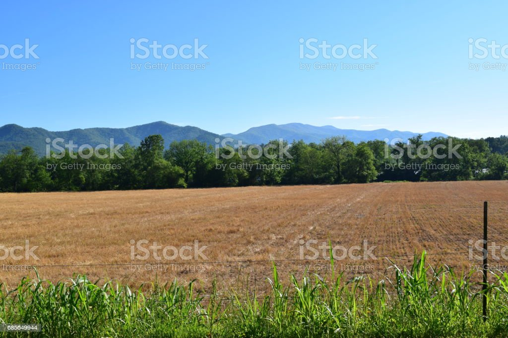 Western NC Farmers field after the hay cut stock photo