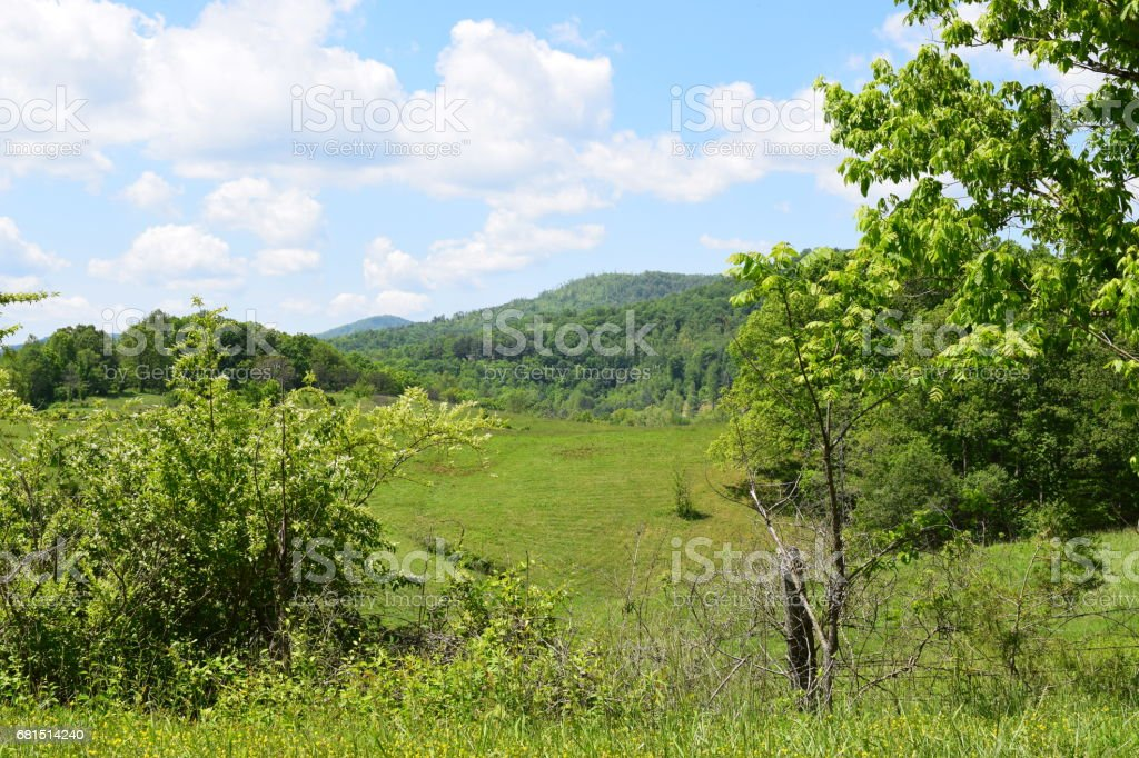 Western NC farmer's field with mountain view stock photo