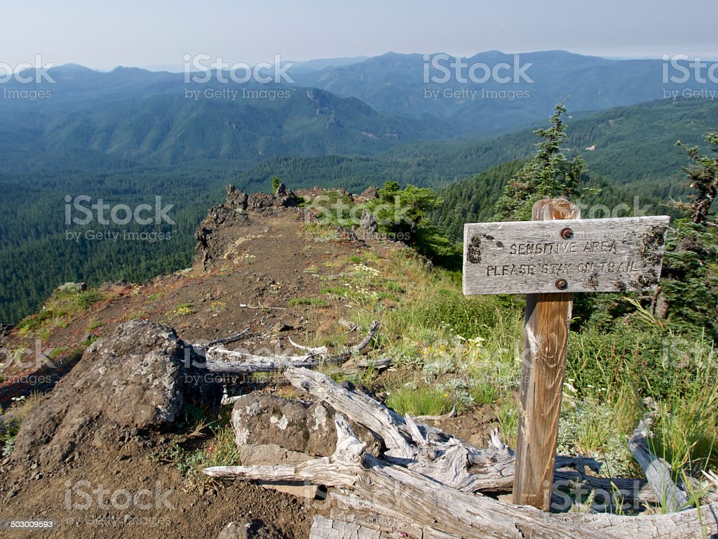 Western Oregon Sensitive Area Sign Rock Outcropping Mountain Peak royalty-free stock photo