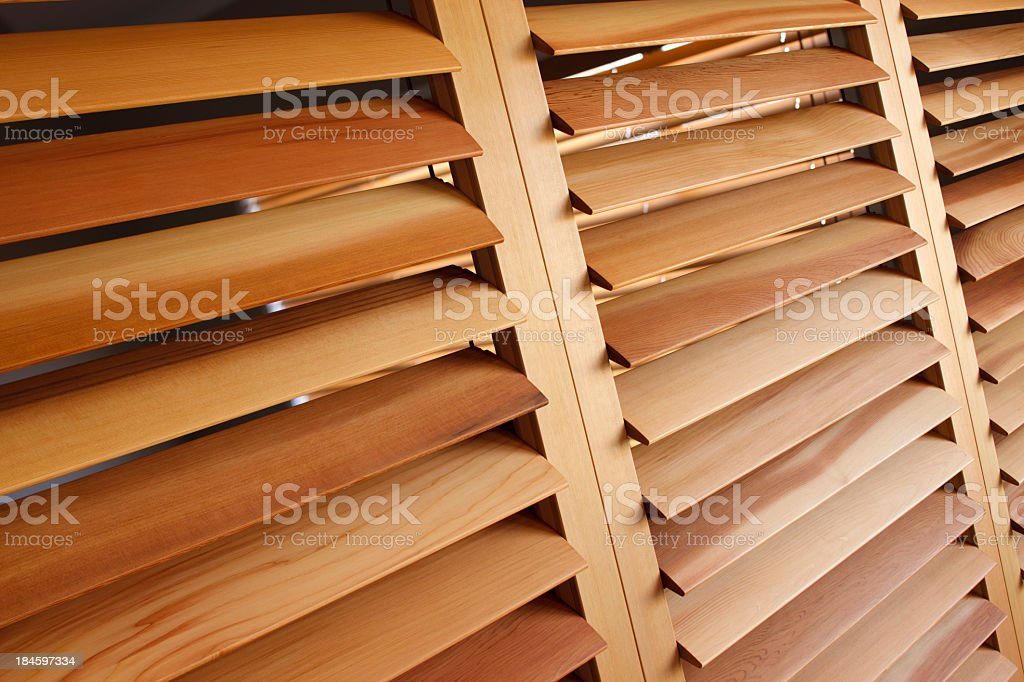 Western Red Cedar Plantation Shutters (Open) royalty-free stock photo