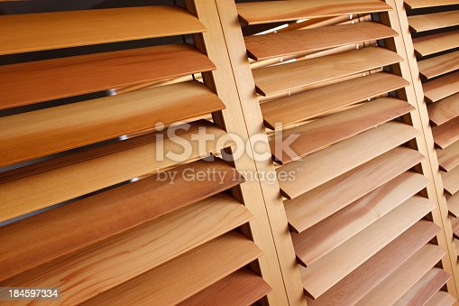 Western Red Cedar Plantation Shutters in the open position.