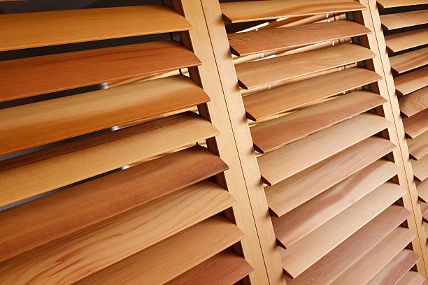 western red cedar plantation shutters (open) - blinds stock pictures, royalty-free photos & images