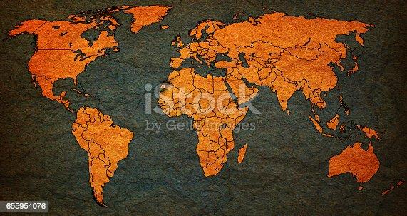 Western Sahara Flag On Old Vintage World Map Stock-Fotografie und ...