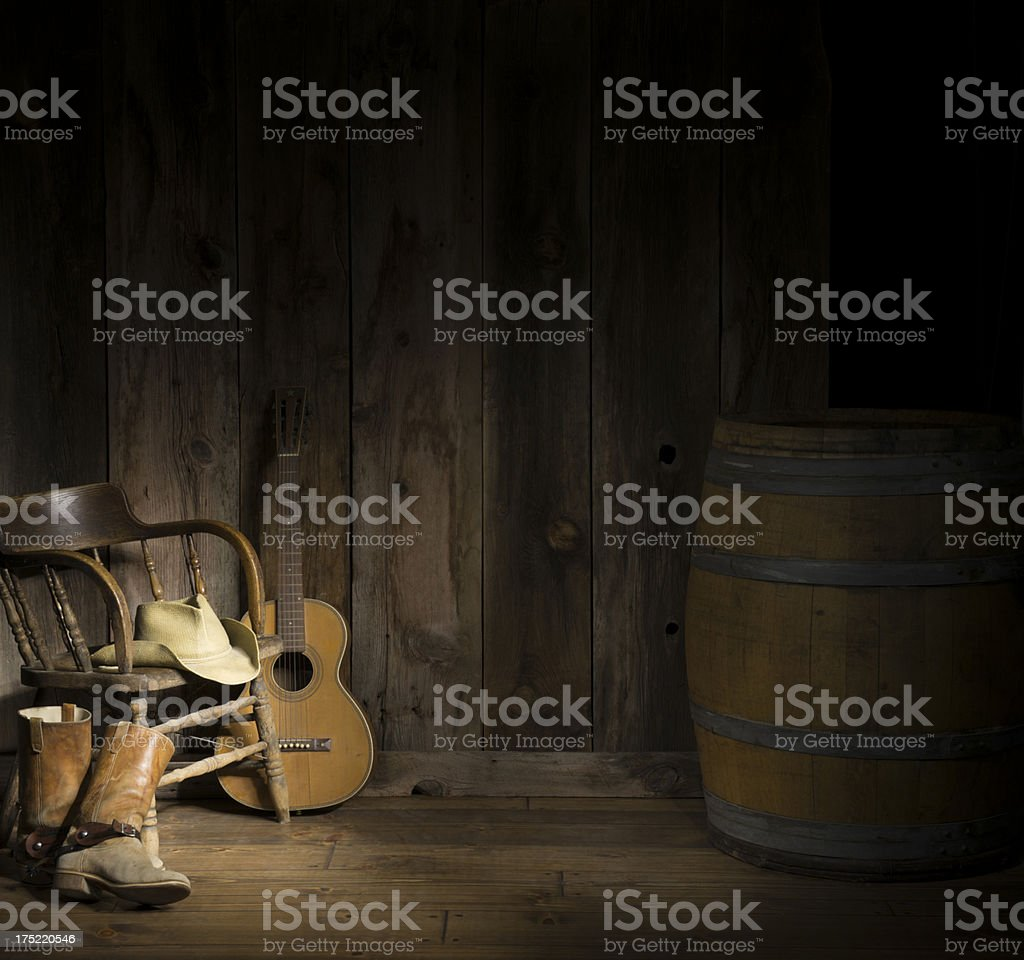 Western scene w/guitar royalty-free stock photo