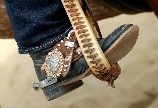 Western Spur Strap and Boot stock photo