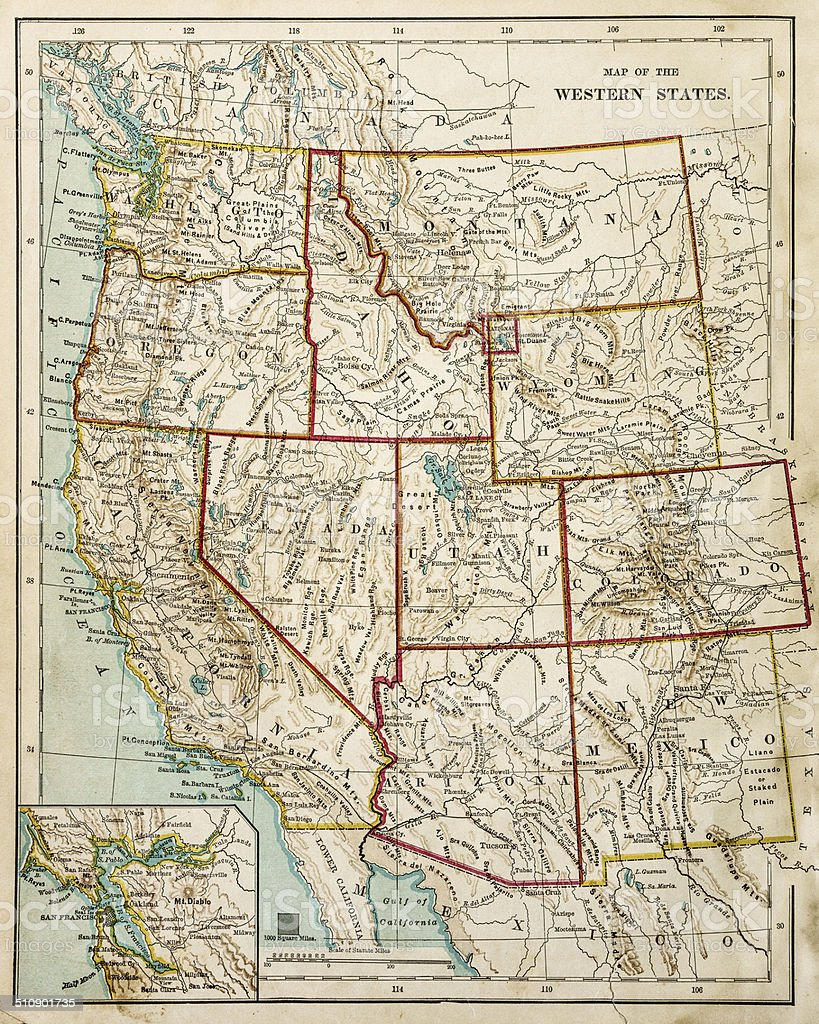 USA Western states map 1877 stock photo
