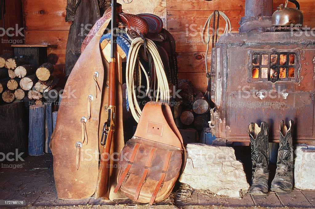 Western Still Life, Cowboy Cabin Interior, Fire, Wood Stove, Ranch stock photo