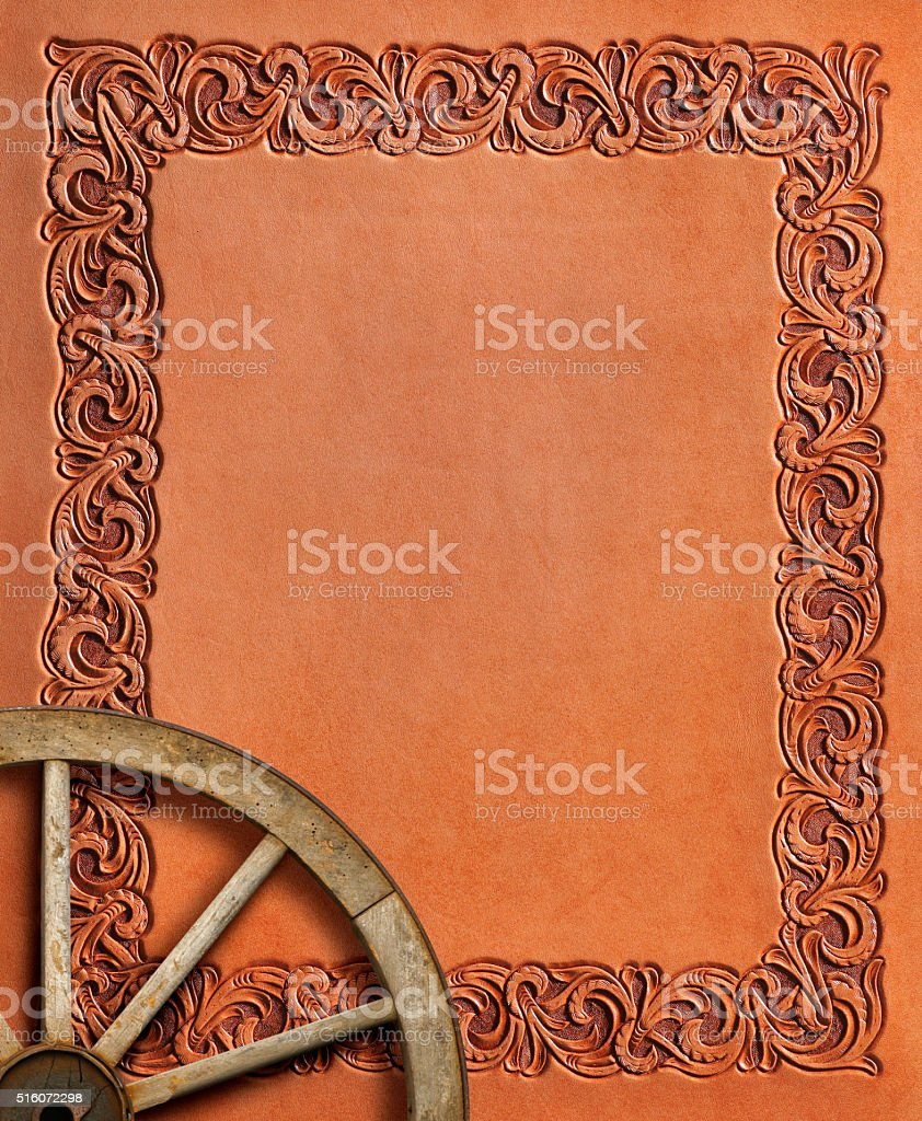 Western Style Stamped Leather With Wagon Wheel stock photo