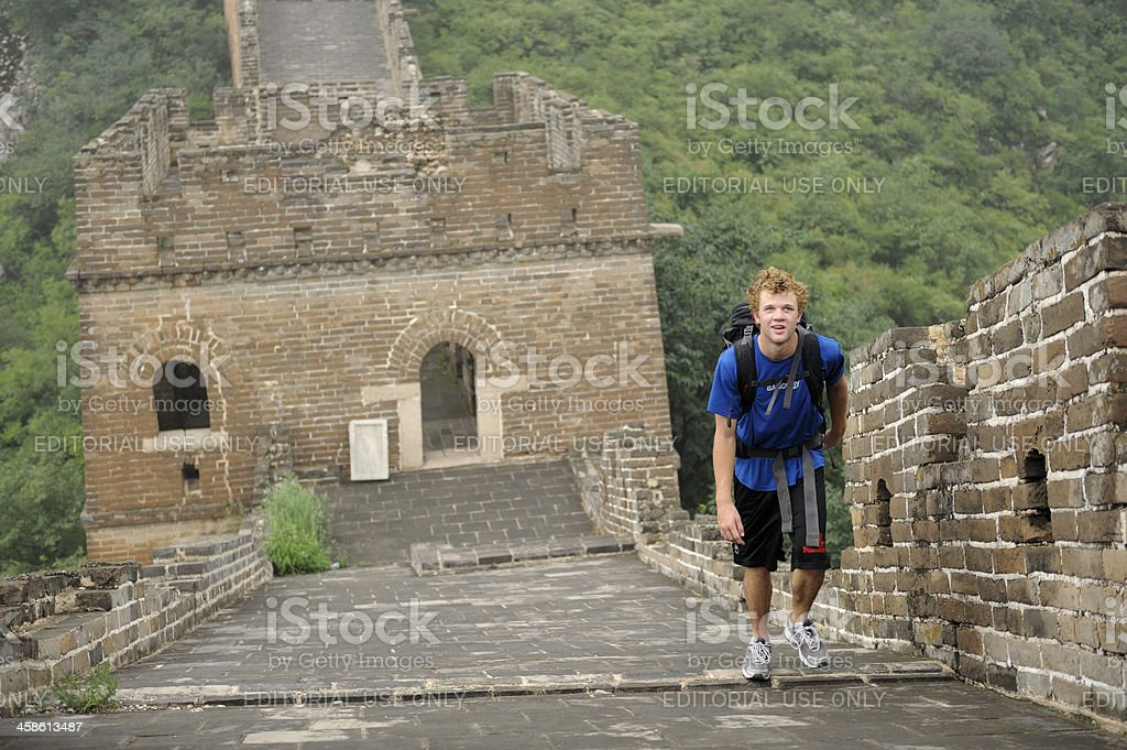 Western tourist on the Great Wall of China stock photo