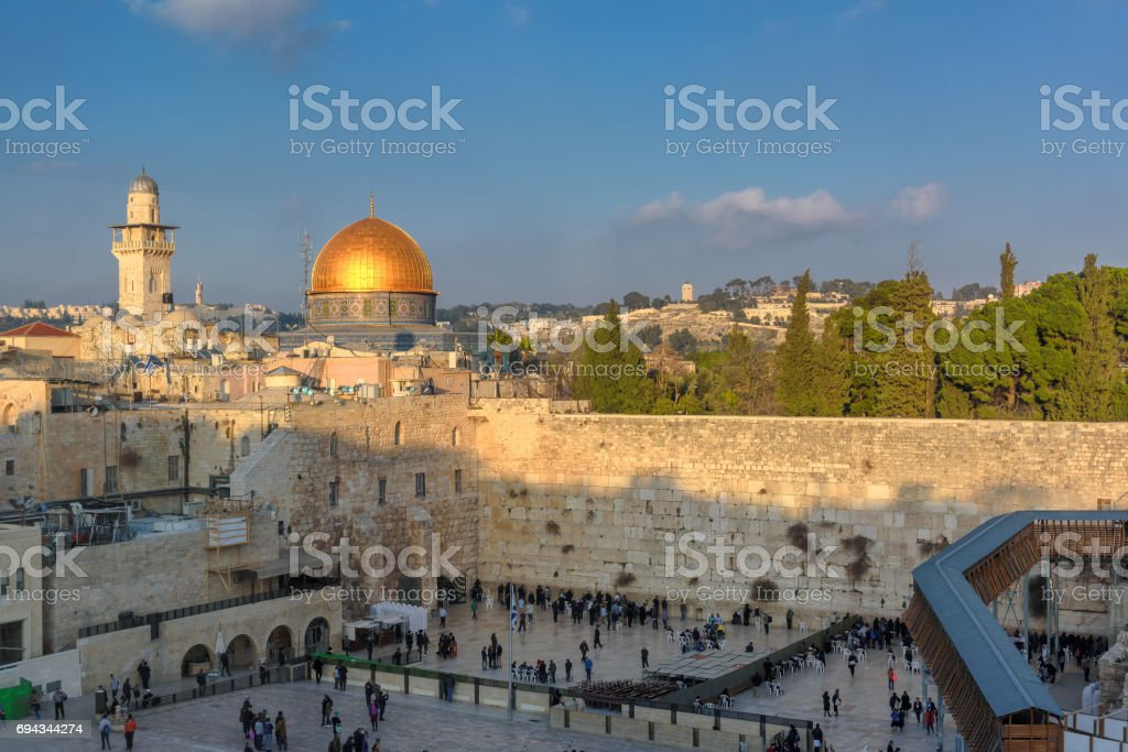 Western wall at sunset stock photo