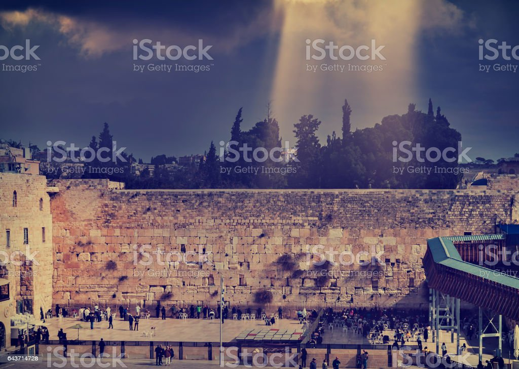 Western Wall of Temple Mount in Jerusalem stock photo