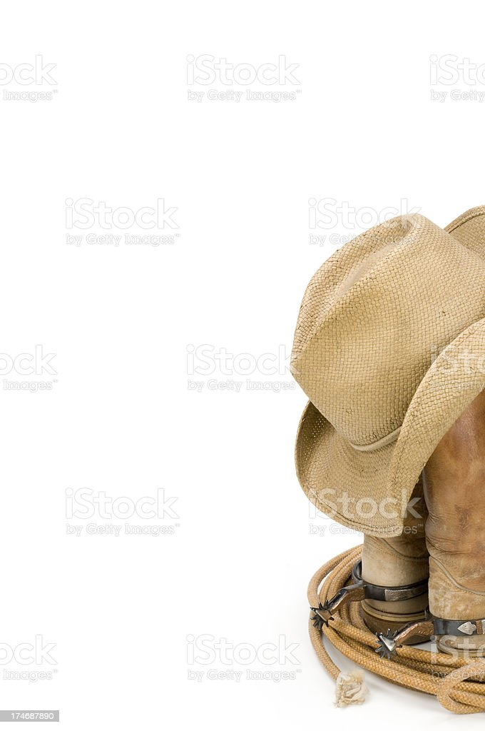 Western wear-hat,boots,lasso isolated on white background royalty-free stock photo
