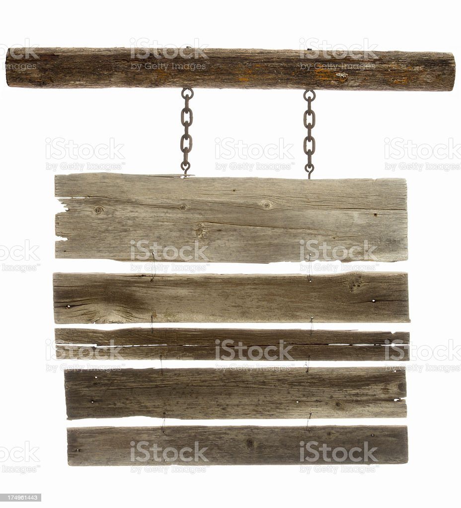 Western wooden sign-multiple planks for copy space/isolated on white stock photo