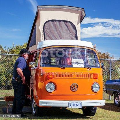 Waterville, Nova Scotia, Canada - September 14, 2019 : 1974 VW Westfalia camper van at Rick Rood