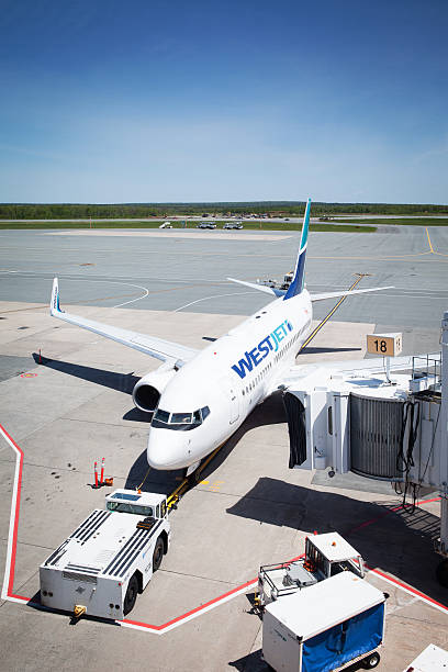 WestJet Flight docked at Stanfield International Airport. stock photo