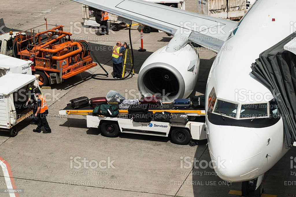 Westjet Flight Preparations royalty-free stock photo