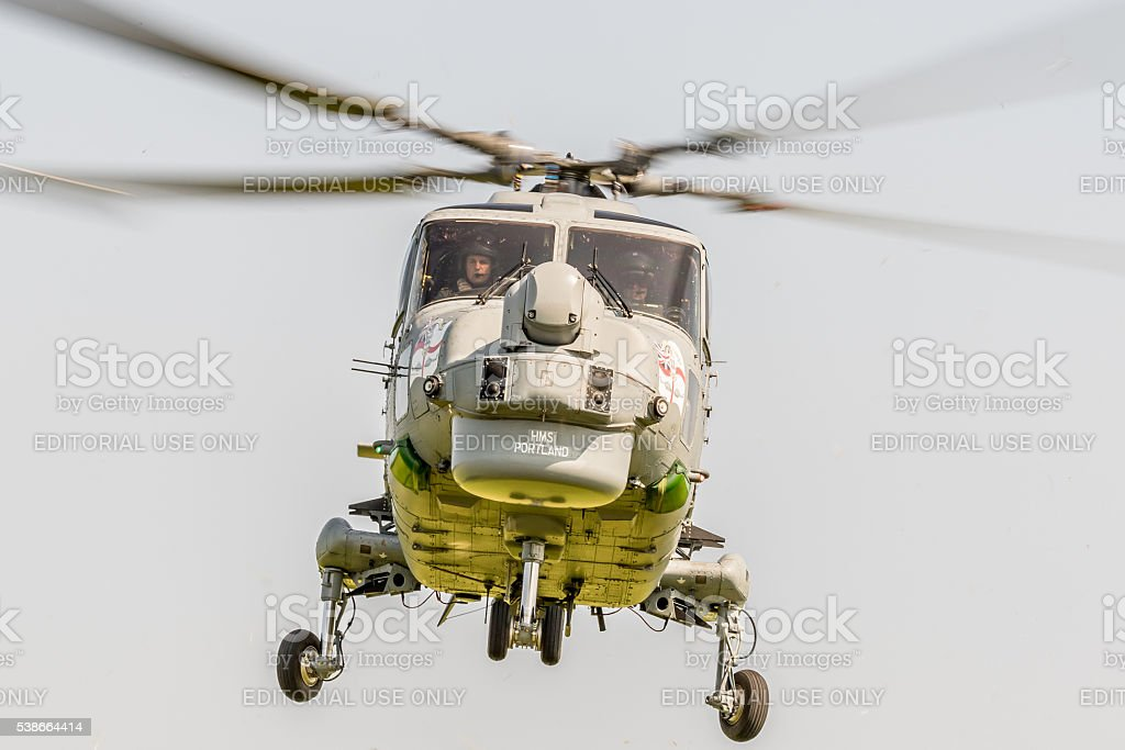 Westland Lynx military helicopter hovering stock photo