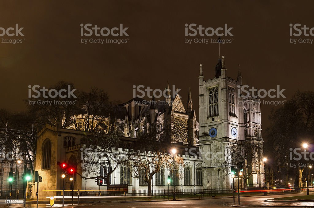 Westminser abbey, London, England, at night royalty-free stock photo