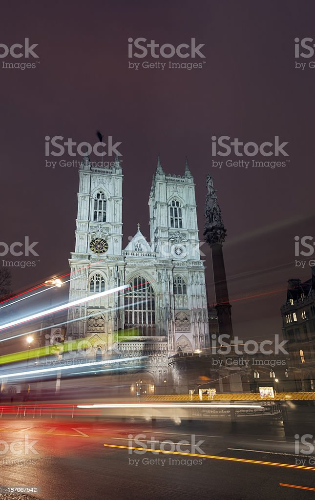 Westminster Abbey and London bus royalty-free stock photo